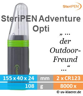 SteriPEN Adventure Opti Wasserentkeimer Outdoor sauberes keimfreies Trinkwasser mir UVC Lampe Licht