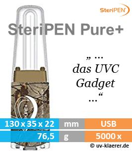 SteriPEN Pure+ Wasserentkeimer Outdoor sauberes keimfreies Trinkwasser mir UVC Lampe Licht