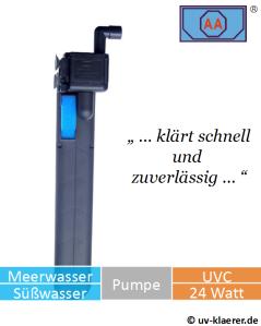 Innenfilter mit UVC AA 24 Watt gegen grünes Wasser im Aquarium, UVC Klärer, UV Klärer