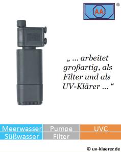 Innenfilter mit UVC AA 3 W gegen grünes Wasser im Aquarium, UVC Klärer, UV Klärer