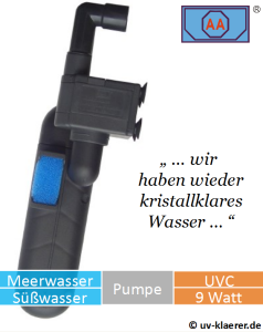 Innenfilter mit UVC AA 9 Watt gegen grünes Wasser im Aquarium, UVC Klärer, UV Klärer