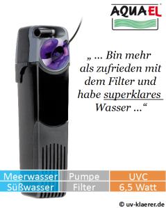 Innenfilter mit UVC Aquael Unifilter UV 500 - gegen grünes Wasser im Aquarium, UVC Klärer, UV Klärer