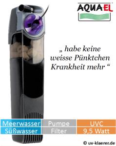Innenfilter mit UVC Aquael Unifilter UV 750 gegen grünes Wasser im Aquarium, UVC Klärer, UV Klärer