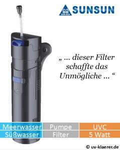 Innenfilter mit UVC CUP 805 gegen grünes Wasser im Aquarium, UVC Klärer, UV Klärer