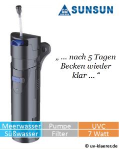 Innenfilter mit UVC CUP 807 gegen grünes Wasser im Aquarium, UVC Klärer, UV Klärer