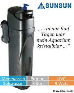 Innenfilter mit UVC JUP 01 gegen grünes Wasser, gegen Algen im Aquarium, UVC Klärer, UV Klärer