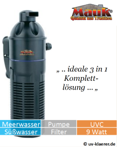 Innenfilter mit UVC Mauk Strömungspumpe 9 Watt gegen grünes Wasser und Algen im Aquarium, UVC Klärer, UV-Klärer