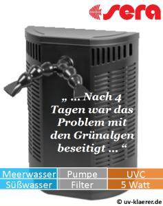 Innenfilter mit UVC sera bioactive if 400 + UV gegen grünes Wasser im Aquarium, UVC Klärer, UV Klärer