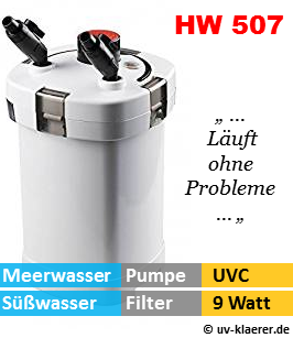 Aussenfilter mit UVC, HW 507 1.000 Liter pro Stunde, 9 Watt UVC Klaerer, gegen Algen im Aquarium