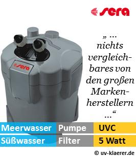 Aussenfilter mit UVC, sera 130, 300 Liter pro Stunde, 5 Watt UVC Klaerer, gegen Algen im Aquarium