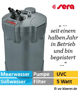 Aussenfilter mit UVC, sera 250, 750 Liter pro Stunde, 5 Watt UVC Klaerer, gegen Algen im Aquarium