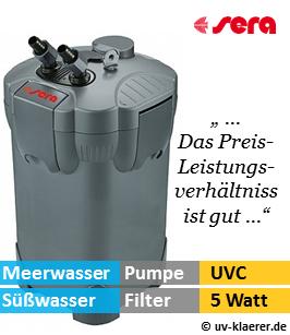 Aussenfilter mit UVC, sera 400, 1.100 Liter pro Stunde, 5 Watt UVC Klaerer, gegen Algen im Aquarium