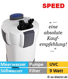 Aussenfilter mit UVC, Speed 1.400 Liter pro Stunde, 9 Watt UVC Klaerer, gegen Algen im Aquarium