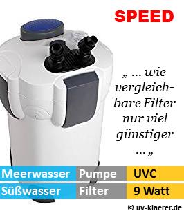 Aussenfilter mit UVC, Speed 2.000 Liter pro Stunde, 9 Watt UVC Klaerer, gegen Algen im Aquarium