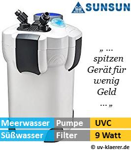Aussenfilter mit UVC, sunsun 303 1.400 Liter pro Stunde, 9 Watt UVC Klaerer, gegen Algen im Aquarium