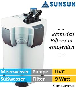 Aussenfilter mit UVC, sunsun 304 1.400 Liter pro Stunde, 9 Watt UVC Klaerer, gegen Algen im Aquarium