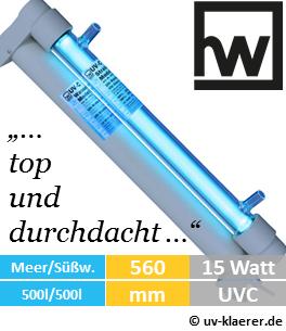 hw wiegandt uv wasserklaerer 500 15 watt uv-klaerer aquarium gegen algen gruenes wasser truebes wasser keime bakterien uvc
