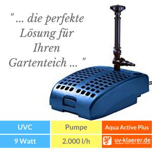 Aqua Active Plus UVC Springbrunnenpumpe Unterwasserfilter Teich UVC grünes Wasser trübes Wasser Schwebealgen Algenblüte Teichfilter 3