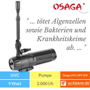 Osaga UVC Fontänenpumpe OFP 209 Springbrunnenpumpe Unterwasserfilter Teich UVC grünes Wasser trübes Wasser Schwebealgen Algenblüte Teichfilter 5