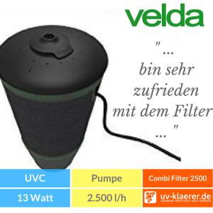 Velda Floating Combi Filter 2500 Springbrunnenpumpe Unterwasserfilter Teich UVC grünes Wasser trübes Wasser Schwebealgen Algenblüte Teichfilter 7