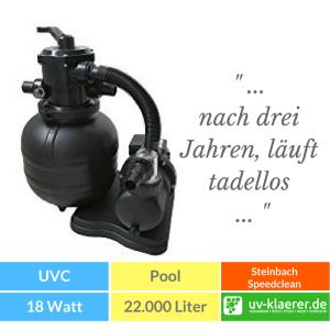 Sandfilter UVC Pool UVC Klärer für Pool Swimmingpool klares Wasser ohne Chlor Steinbach Sandfilteranlage Speedclean Classic 310