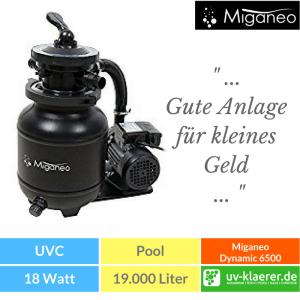 Sandfilter UVC Pool UVC Klärer für Pool Swimmingpool klares Wasser ohne Chlor Miganeo Sandfilteranlage Dynamic 6500