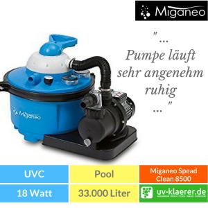 Sandfilter UVC Pool UVC Klärer für Pool Swimmingpool klares Wasser ohne Chlor Miganeo Sandfilteranlage 8,5 m³