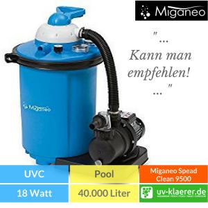 Sandfilter UVC Pool UVC Klärer für Pool Swimmingpool klares Wasser ohne Chlor Miganeo Sandfilteranlage 9,5 m³