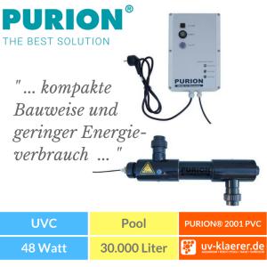 UVC Pool UVC Klärer für Pool Swimmingpool klares Wasser ohne Chlor PURION 2001 UVC-Anlage Teichreiniger Poolreiniger Poolklärer(PURION 2001 PVC-U mit Lebensdauerüberwachung)