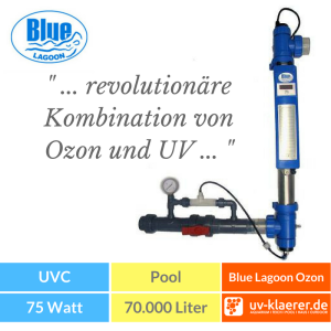 UVC Pool UVC Klärer für Pool Swimmingpool klares Wasser ohne Chlor Blue Lagoon 75W Ozon UV-C