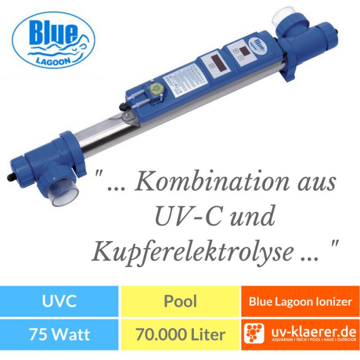 UVC Pool UVC Klärer für Pool Swimmingpool klares Wasser ohne Chlor Blue Lagoon UV-C Ionizer 40 W