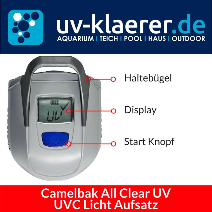 Aufsatz Camelbak All Clear UV Trinkflasche mit UVC Strahlung Entkeimer - Haltebügel, Display, Start Knopf
