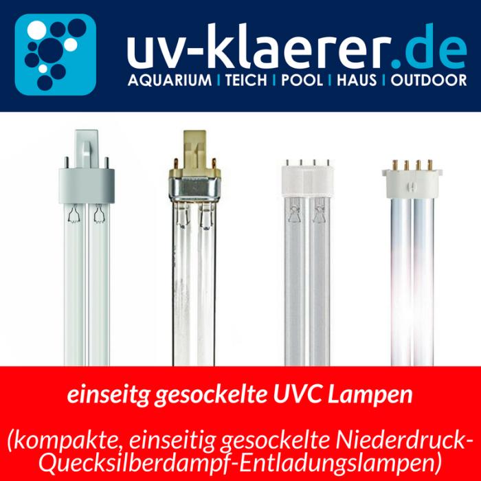 Übersicht UVC Lampe UVC Birne UV C Lampe Sockeltypen einseitig gesockelt Quecksilberdampflampe