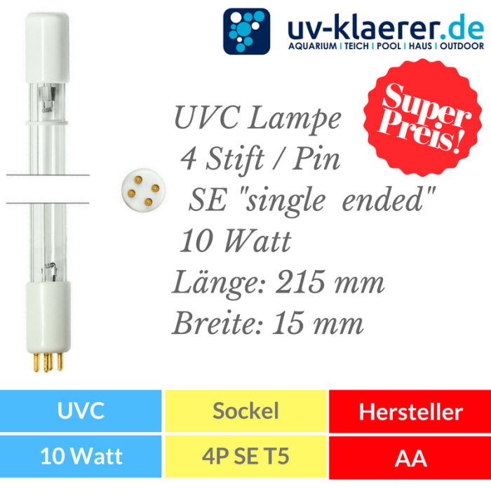 UVC Ersatzlampe 10 Watt mit 4P SE Sockel Fassung