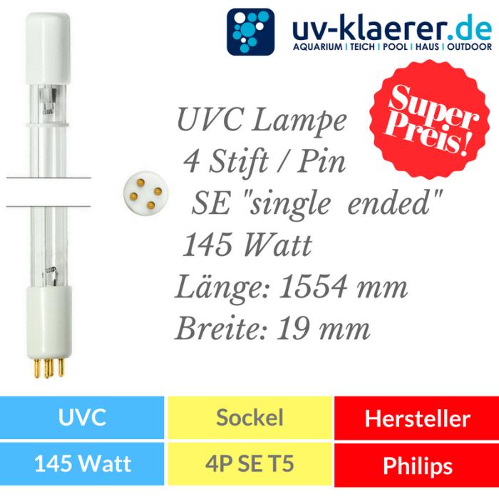 UVC Ersatzlampe 145 Watt mit 4P SE Sockel Fassung