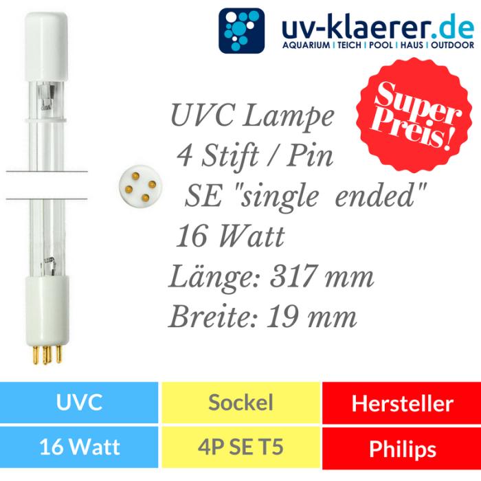 UVC Ersatzlampe 16 Watt mit 4P SE Sockel Fassung