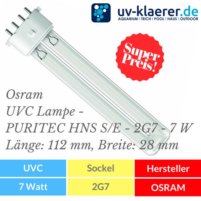 UVC Ersatzlampe Osram UVC Lampe - PURITEC HNS S/E - 2G7 - 7 W