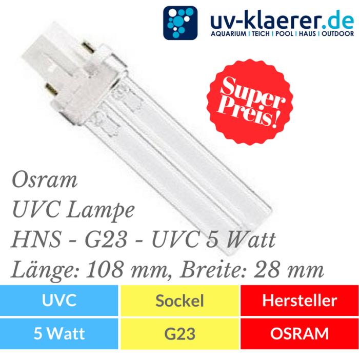UVC Ersatzlampe Osram UVC Lampe - PURITEC HNS S - G23 - 5 Watt