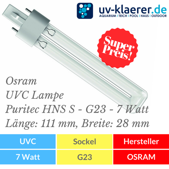 UVC Ersatzlampe Osram UVC Lampe - PURITEC HNS S - G23 - 7 Watt