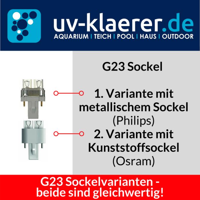 UVC Ersatzlampe Sockel Varianten Osram und Philips