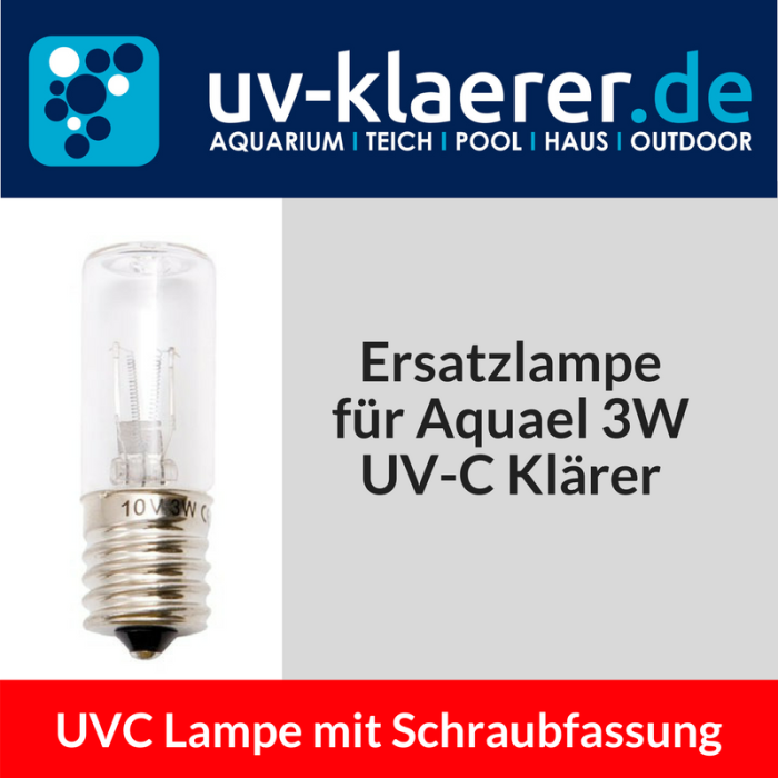 UVC Ersatzlampe Speziallampen Schraubsockel Aquael Mini 3 Watt