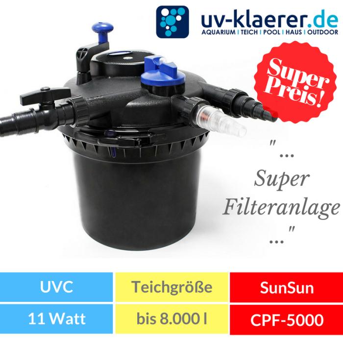 Druckfilter mit UVC SunSun CPF 5.000