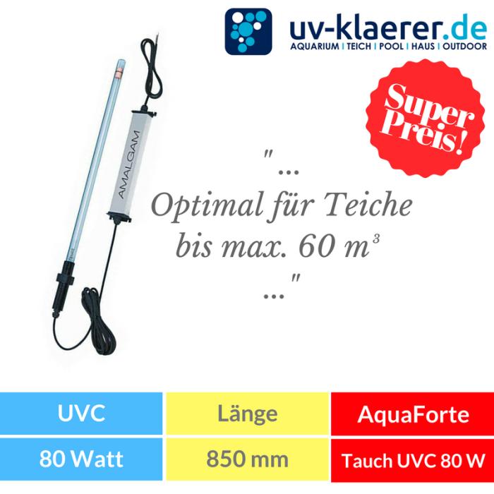 Tauchstrahler 80 Watt AquaForte AMALGAM Tauch UVC Strahler als 3 tlg. Bausatz, Tauchstrahler für Ihren Koi Teich und Teichfilter zu Entkeimung und Algenvernichter