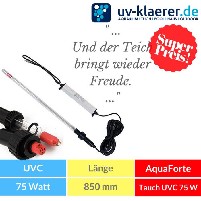 Tauchstrahler AquaForte Tauch UVC Strahler als 3 tlg. Bausatz, Tauchstrahler für Ihren Koi Teich und Teichfilter zu Entkeimung und Algenvernichter
