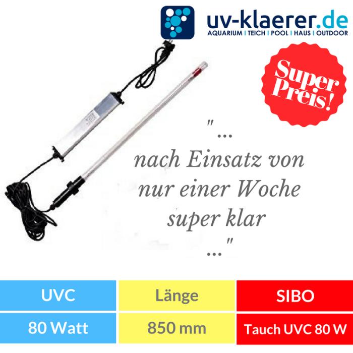 Tauchstrahler Tauch UVC 80 Watt Amalgan für Koiteiche bis 150000 liter Amalgam