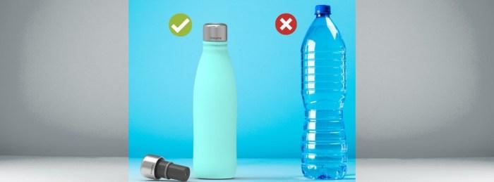 Microlyscs wiederverwendbare Wasserflasche aus Edelstahl mit CrazyCap