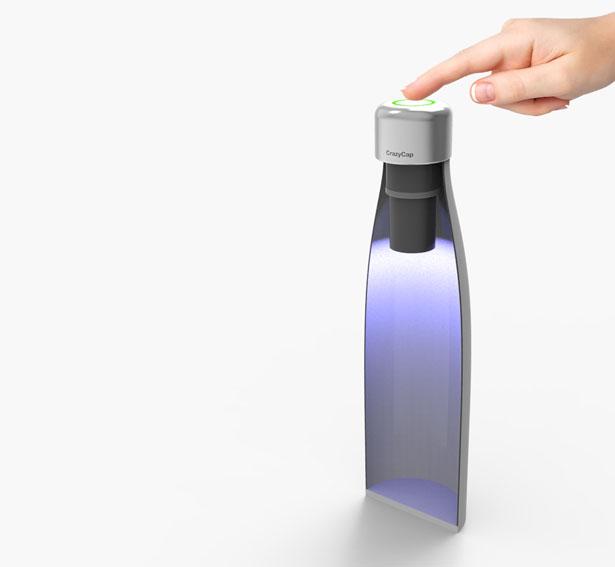 crazycap Trinkflaschenaufsatz mit UVC LED